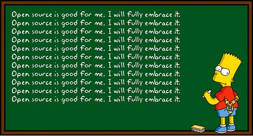 Bart Simpson scrawling 'Open source is good for me'.