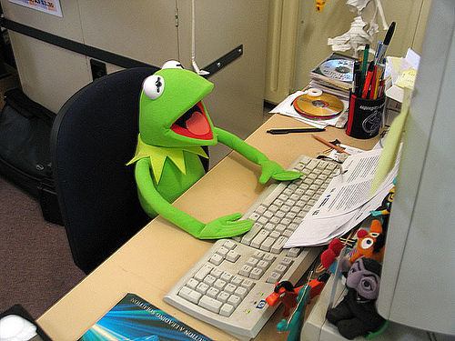 Kermit the Frog, overawed at a computer.