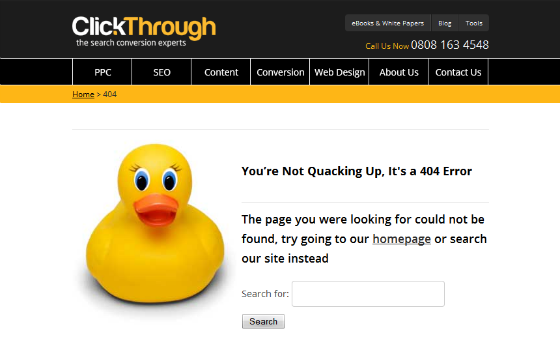 ClickThrough Marketing's 404 page.