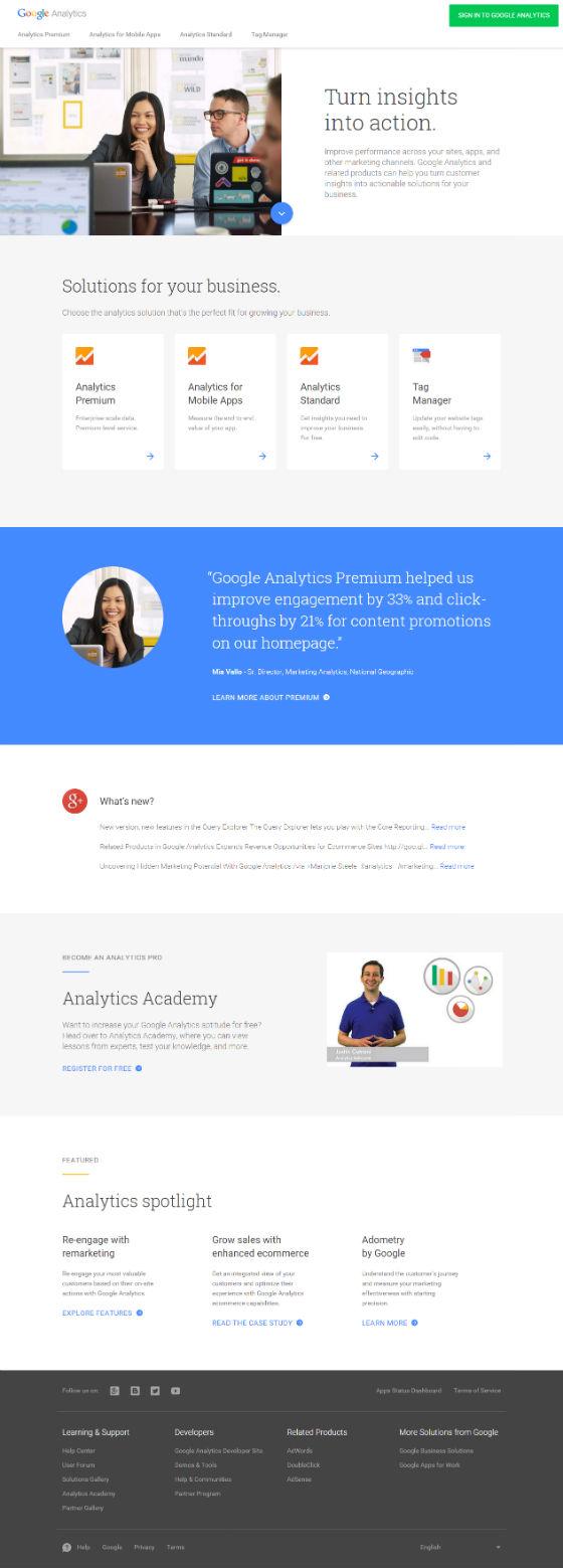 New Analytics homepage in full.