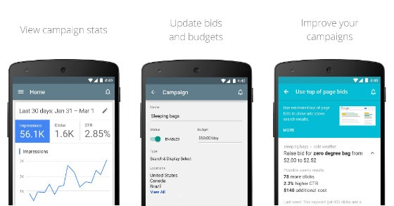 A banner displaying some of AdWords' features on Android.