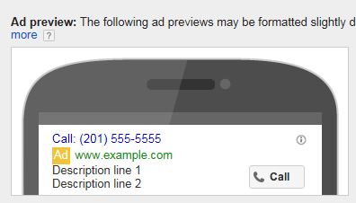 AdWords call-only ads, mobile preview.