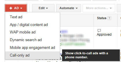 AdWords Call Only Ads