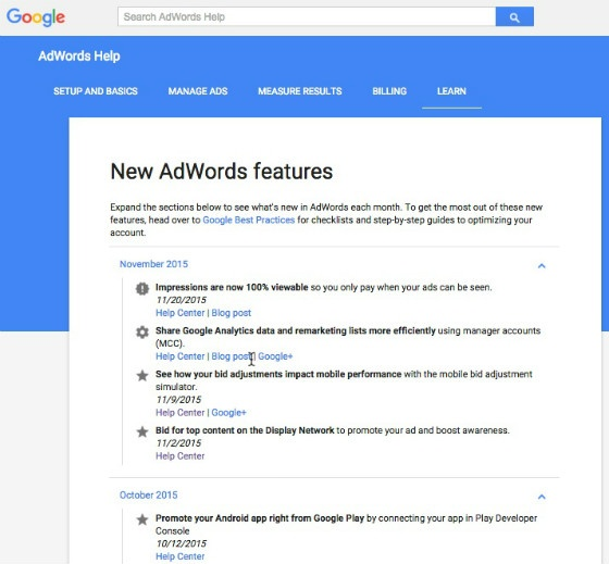 AdWords developments
