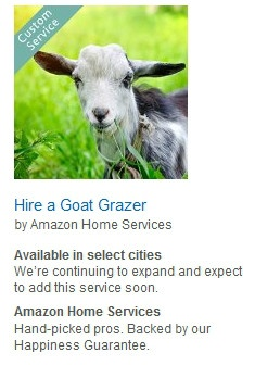 Screenshot of Amazon's goat grazing service.