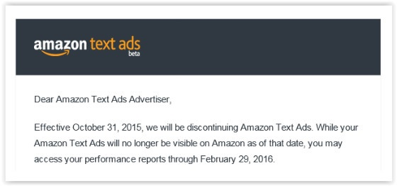 Amazon Text Ads message