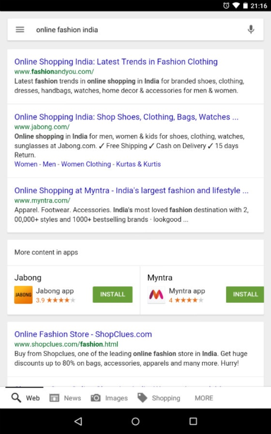 Android Apps downloadable in SERPs