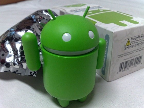 A toy Android figure.