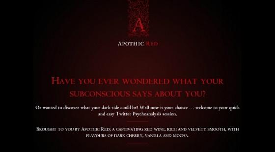Apothic's Twitter psychoanalysis tool.