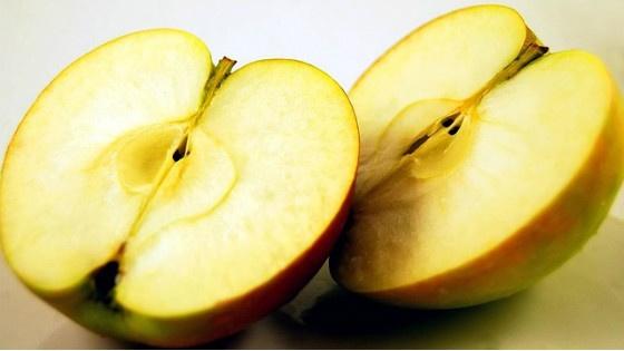Apple split in two.