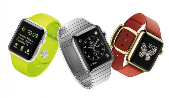 The Apple Watch in three styles.
