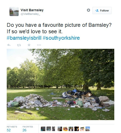 An example 'Visit Barnsley' tweet - a picture of a field strewn with rubbish, accompanied by the text 'Do you have a favourite picture of Barnsley?'