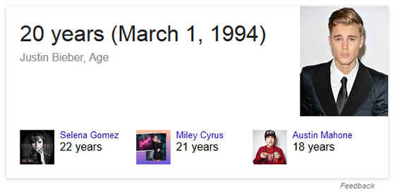 Answer box result for 'how old is Justin Bieber?'.