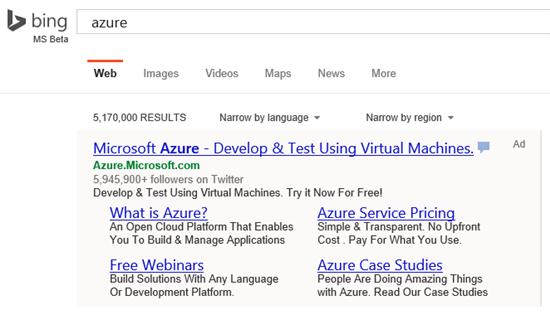 Bing's enhanced sitelinks in action.