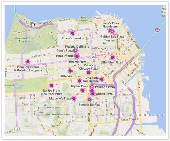Bing Maps Preview place points