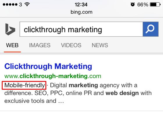 Bing's mobile-friendly label.
