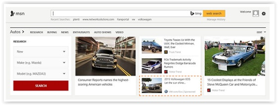 Example of Bing Native Ads