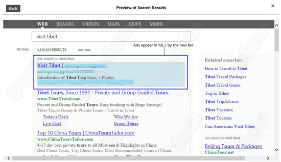 Ad preview in Bing search results.