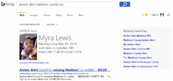 Bing's AMBER Alert info boxes.