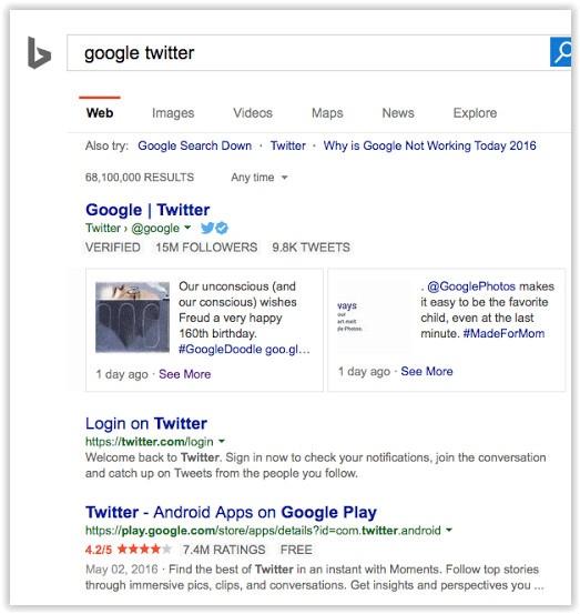 Bing Twitter partnership