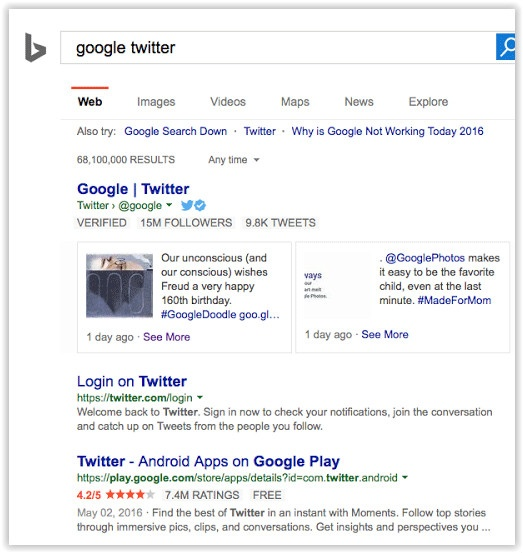 Bing Twitter partnership