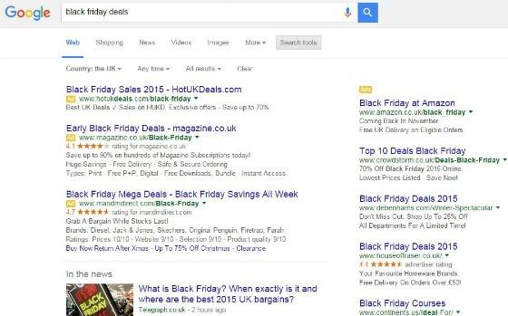 Retailers advertising Black Friday deals