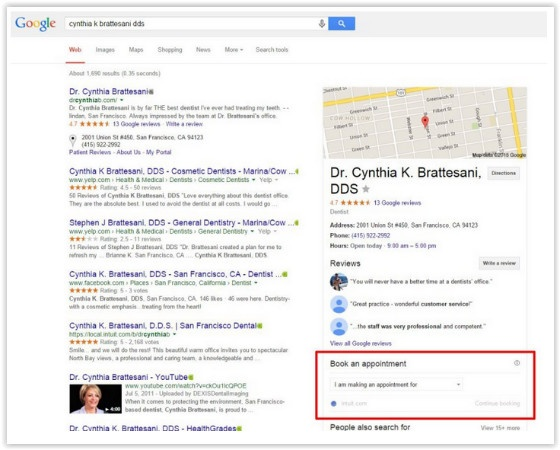 Google 'Book an Appointment' feature