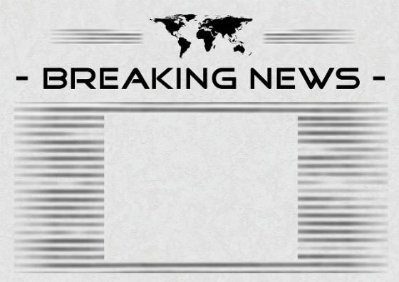 Newspaper showing breaking news