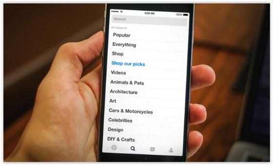 Buyable Pins mobile screen