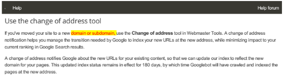 The updated documentation for Google's change of address tool.