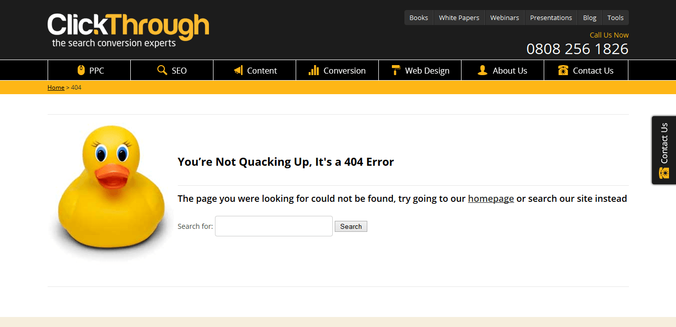 "ClickThrough Marketing's 404 page - ""You're not quacking up, it's a 404 error!"""