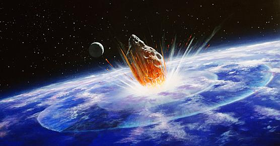 A comet colliding with earth.