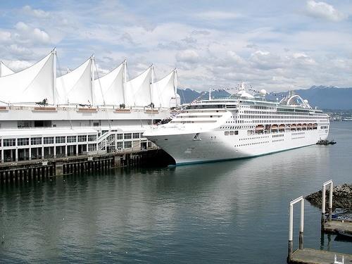 Cruise ship in dock.