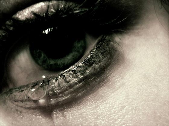 An eye, crying.