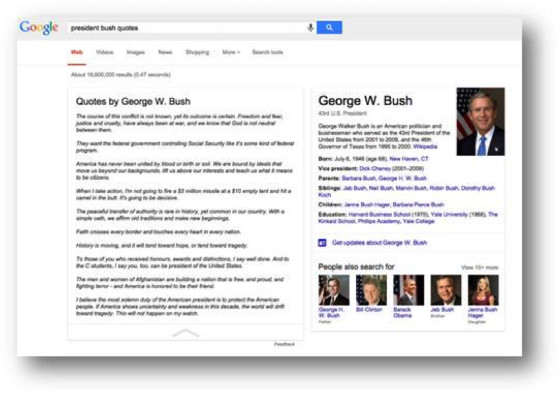 Google Search showing George Bush quotes