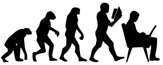 The evolution of man - from ape to laptop user.
