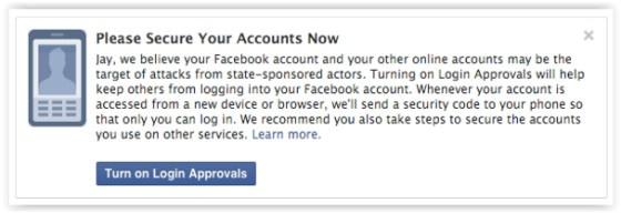 Facebook attack notification