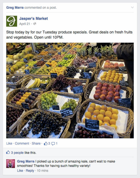 An example of a Facebook user interacting with a brand Page post.