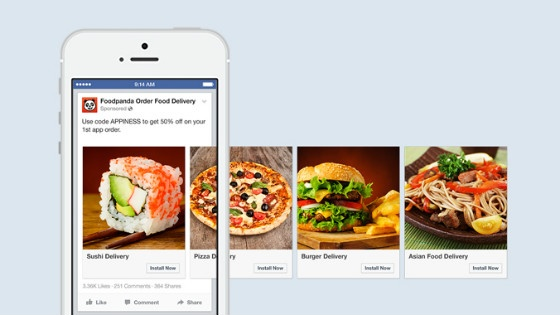 Facebook's 'carousel' ad format, used by Foodpanda for mobile app ads.