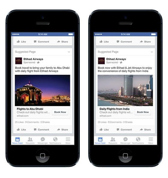 Examples of Etihad Airways' expat-targeted Facebook ads.