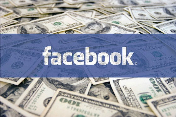 Facebook logo with 100 dollar bills.