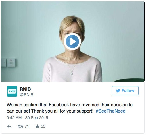 Facebook RNIB Tweet