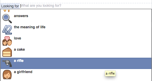 Facebook's 'looking for a rifle' emoji.