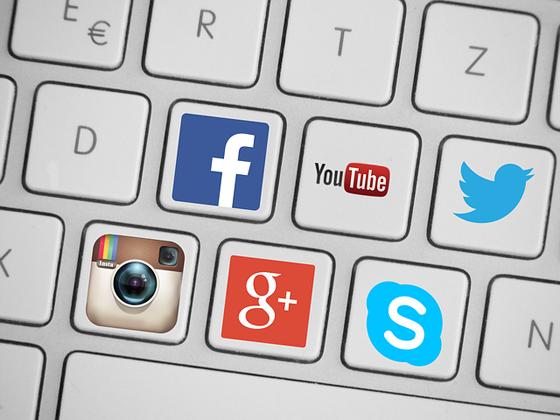 Keyboard with social media logos.