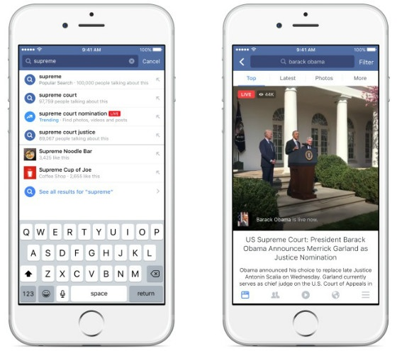 Facebook Live Search Function