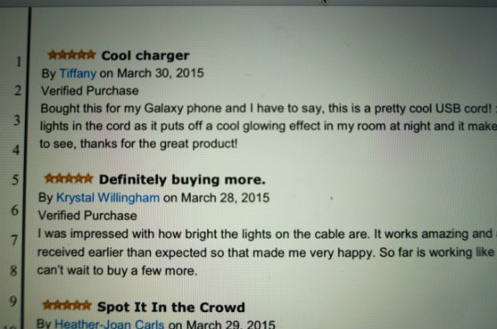 Some of the fake reviews identified in the lawsuit.