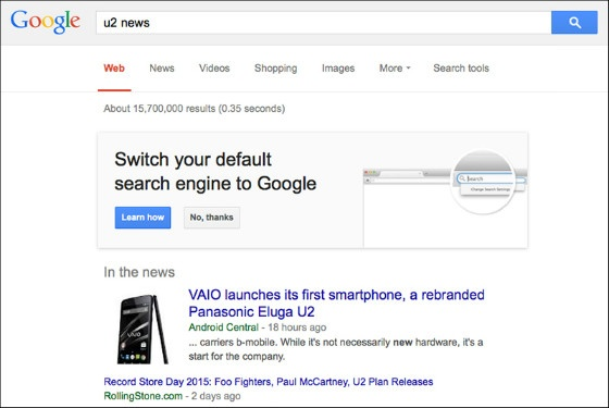 Google's banner ad urging Firefox users to switch their default search engine.
