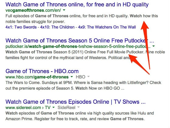 Google search results for 'watch game of thrones'
