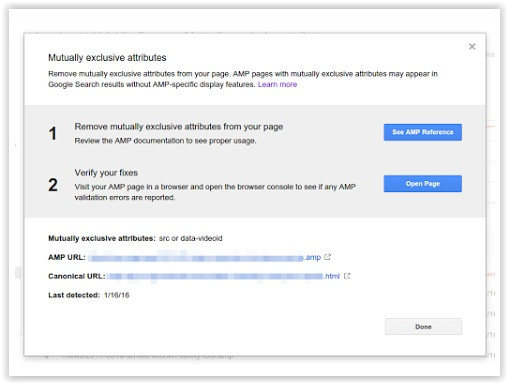 Google AMP Error Reports