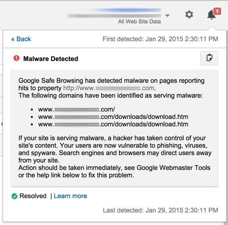 The malware notification in Google Analytics.
